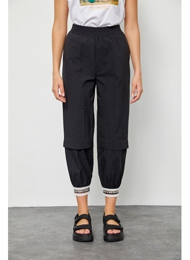 Setre Sarı Paçası Şerit Detaylı Jogger Pantolon Siyah